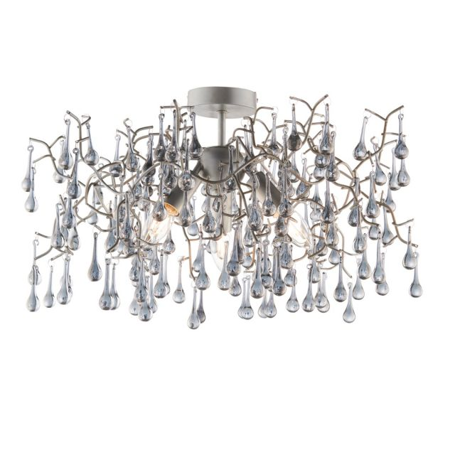 Stylish 3 Light Semi Flush Ceiling Light In Aged Silver With Smokey Glass Teardrops