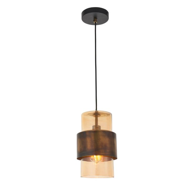 Artisan 1 Light Ceiling Pendant Light In Brass Patina and Champagne Lustre Glass