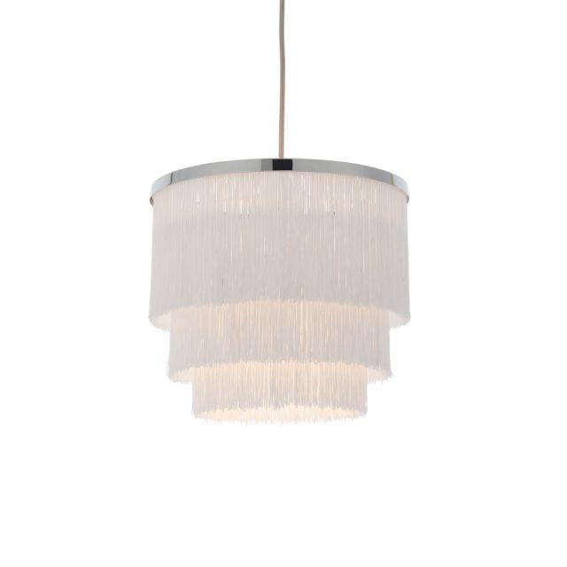 Stylish 1 Light Ceiling Pendant Light In Chrome Finish With White Tassels