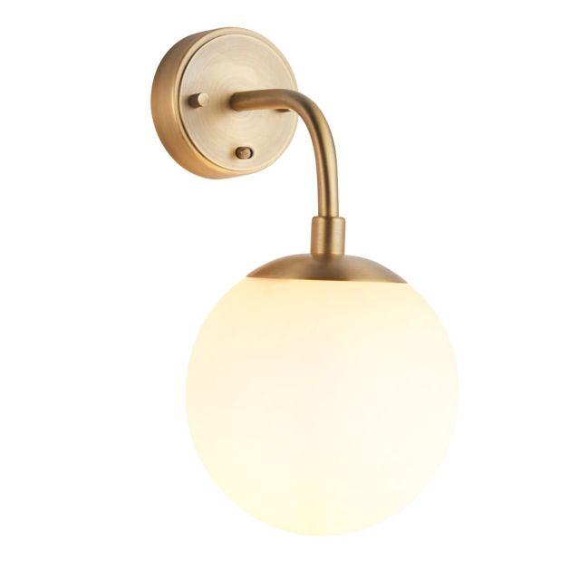 Contemporary 1 Light Wall Light In Matt Antique Brass With Opal Glass