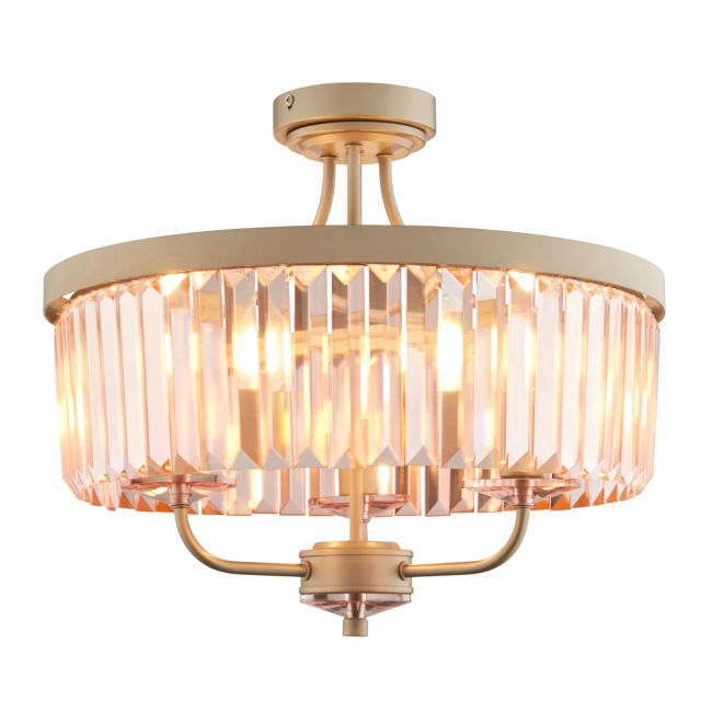 Modern 3 Light Semi Flush Ceiling Light In Champagne Finish With Rose Pink Cut Glass