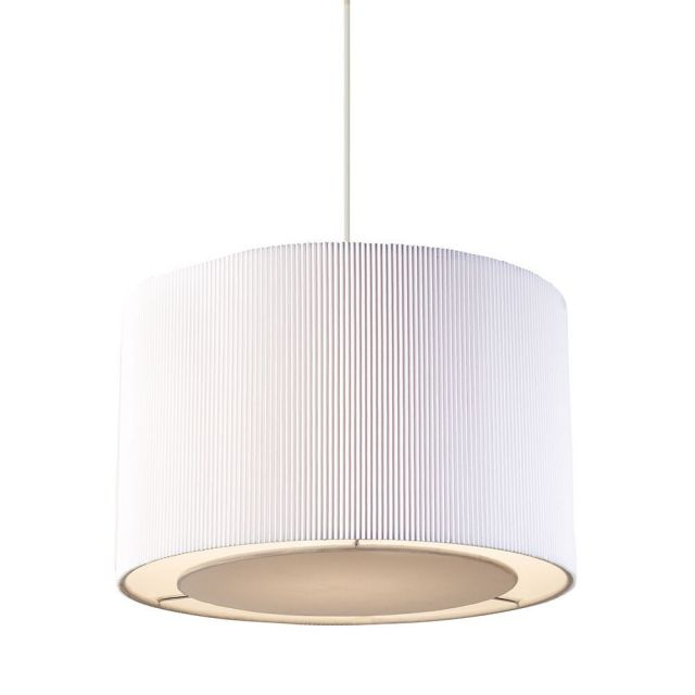 Endon 96043-WH Colette Pleated Fabric White Non-Electrical Pendant