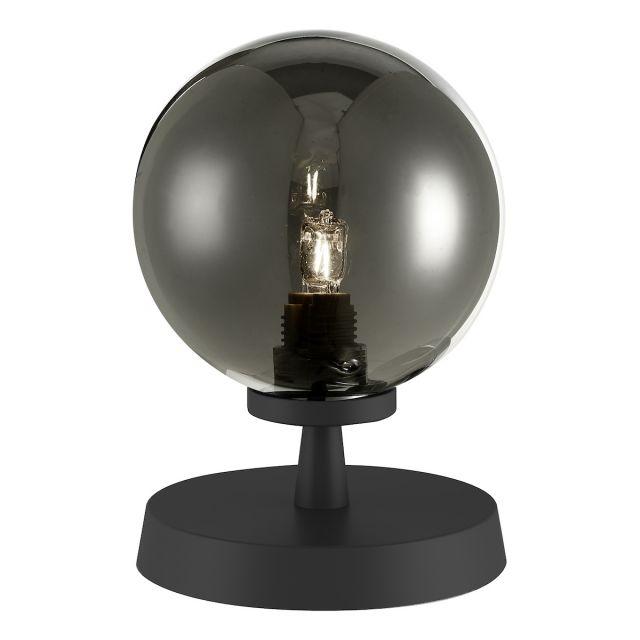 Dar Lighting ESB4122-01 Esben Touch Table Lamp In Matt Black With Smoked Glass
