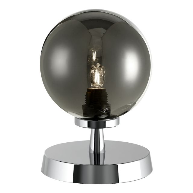 Dar Lighting ESB4150-01 Esben Touch Table Lamp In Polished Chrome With Smoked Glass