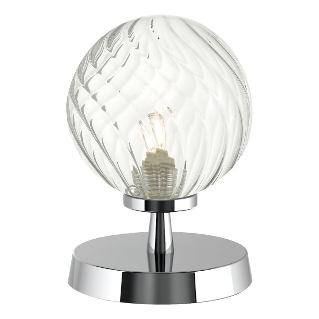 Dar Lighting ESB4150-03 Esben Touch Table Lamp In Polished Chrome With Twisted Glass