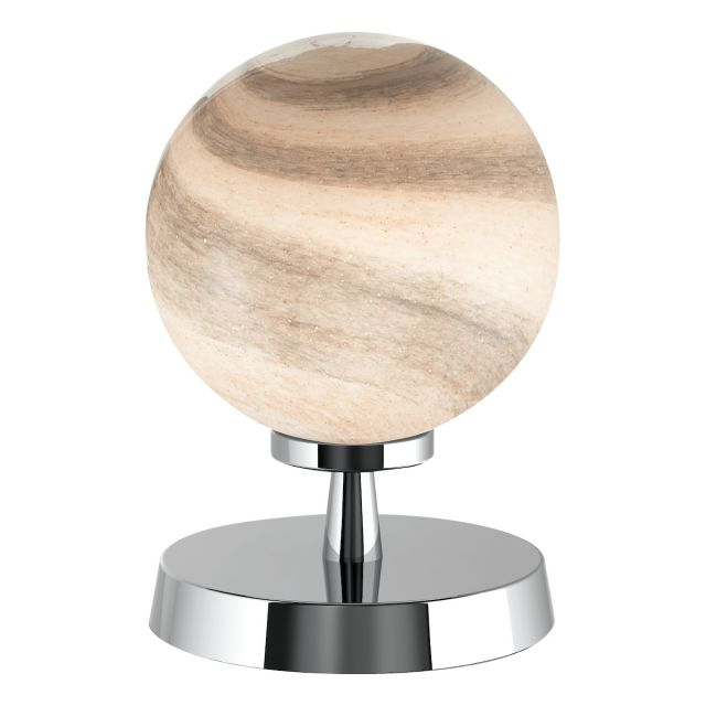 Dar Lighting ESB4150-07 Esben Touch Table Lamp In Polished Chrome With Planet Glass