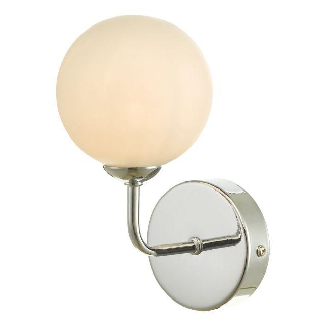 Dar Lighting FEY0750-02 Feya 1 Light Wall Light In Polished Chrome With Opal Glass