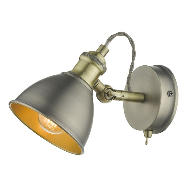 Dar Lighting GOV0761 Governor Single Spotlight In Antique Chrome And Antique Brass