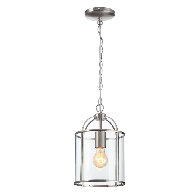 Traditional 1 Light Satin Nickel Circular Hanging Hall Ceiling Lantern Light with Glass Panels
