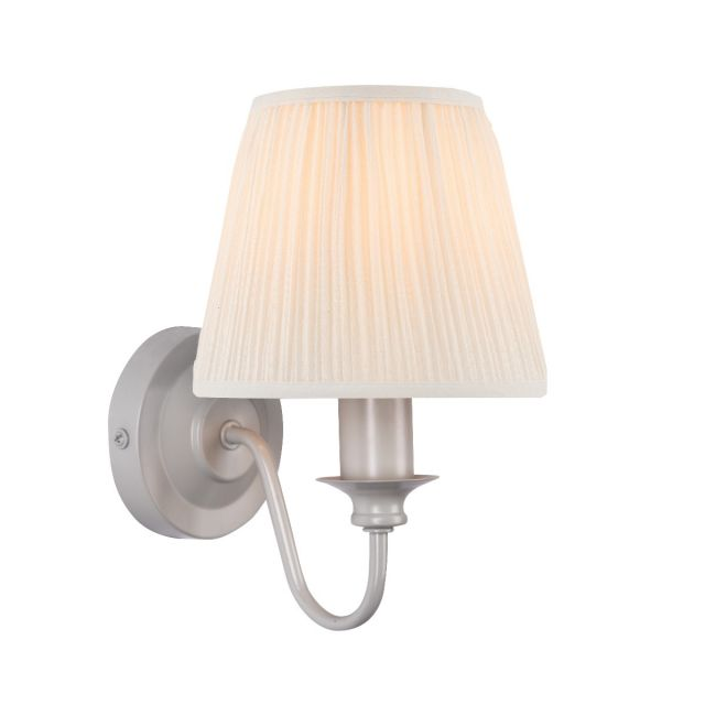 Laura Ashley Ellis Single Wall Light In Satin Grey With Ivory Cotton Shade
