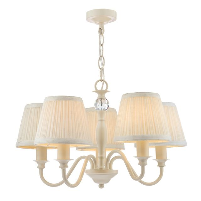 Laura Ashley Ellis 5 Light Ceiling Pendant Light In Satin Cream With Ivory Shades