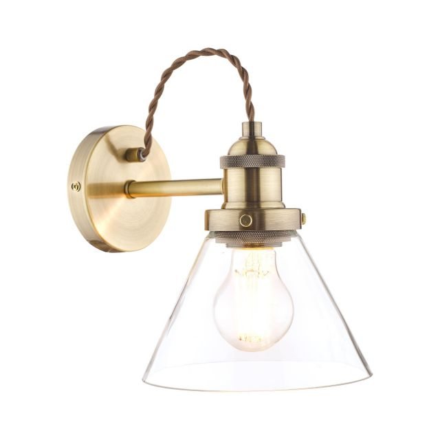 Laura Ashley Isaac Single Wall Light In Antique Brass Finish