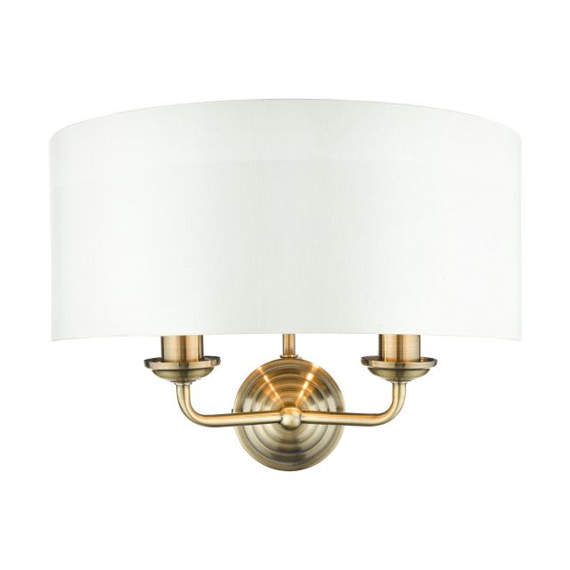 Laura Ashley Sorrento Antique Brass 2 Light Wall Light With Ivory Shade