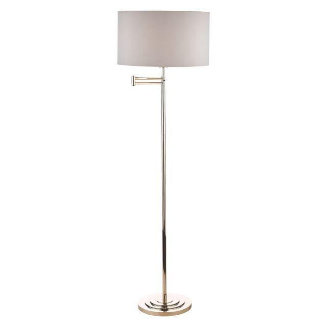 Laura Ashley Marlowe Polished Nickel Swing Arm Floor Lamp With Grey Cotton Shade