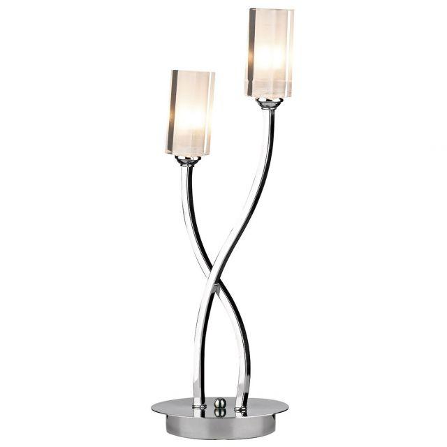 Dar MOR4050 Morgan 2 Light Polished Chrome Table Lamp