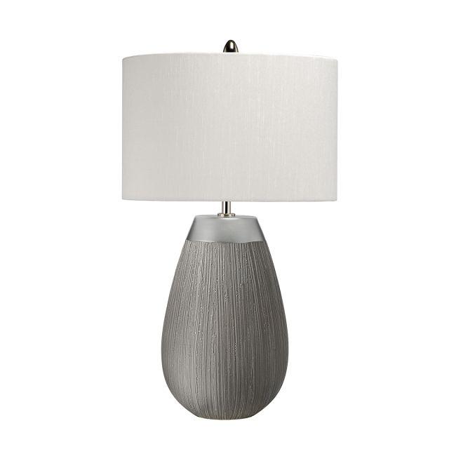 Quintessentiale QN-HARROW-TL Harrow Elegant Table Lamp In Silver With Grey Silk Shade