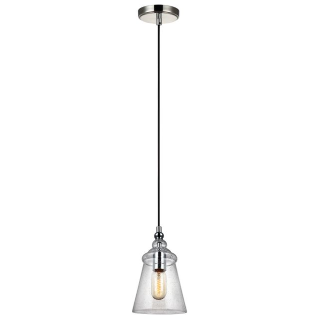 Quintessentiale QN-LORAS-1MP Loras Industrial 1 Light Mini Ceiling Pendant In Polished Chrome With Seeded Glass