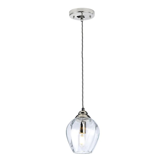 Quintessentiale QN-TIBER-P-CLEAR Tiber 1 Light Ceiling Pendant Light In Polished Nickel With Clear Glass Shade