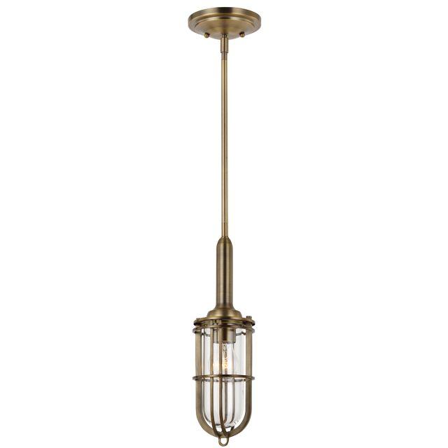 Quintessentiale QN-URBANREST-MP Urban Restoration Single Vintage Ceiling Pendant In Dark Antique Brass IP44