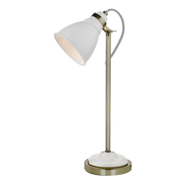 Dar Lighting SIK402 Sika Task Table Lamp In White and Antique Brass