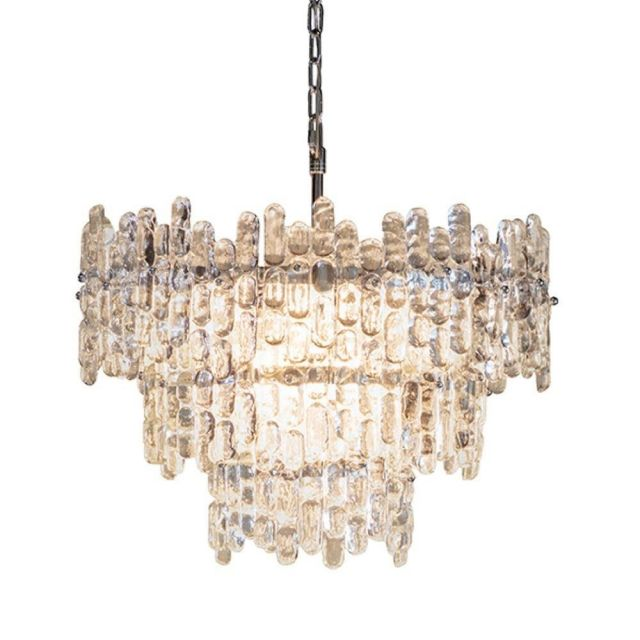 9 Light Round Ceiling Pendant Light In Chrome Plate And Clear Glass