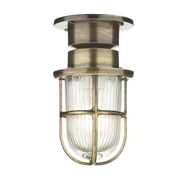 David Hunt Lighting COA0175 Coast One Light Semi Flush Ceiling Light In Antique Brass