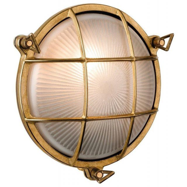 Firstlight 3434BR Nautic Solid Brass Round Outdoor Bulkhead Light - 5 Only