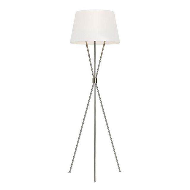 FE-PENNY-FL-PN Penny 1 Light Floor Light In Polished Nickel With White Linen Shade