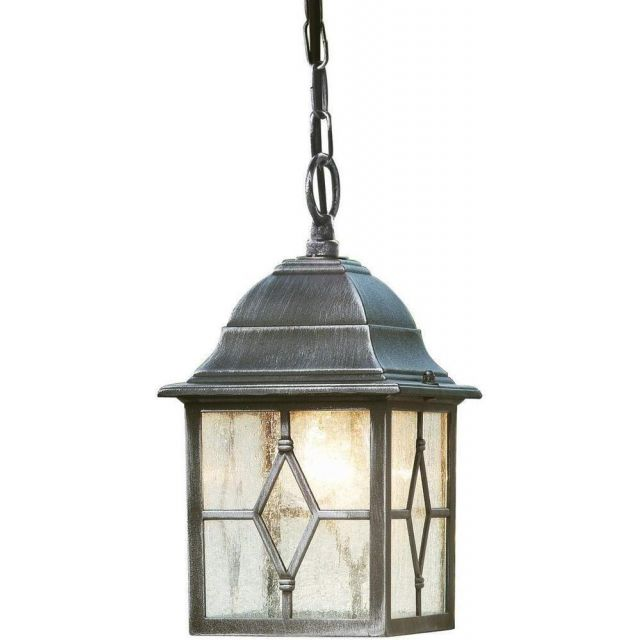 Traditional Black Silver Hanging Porch Chain Lantern Light with Cathedral Glass