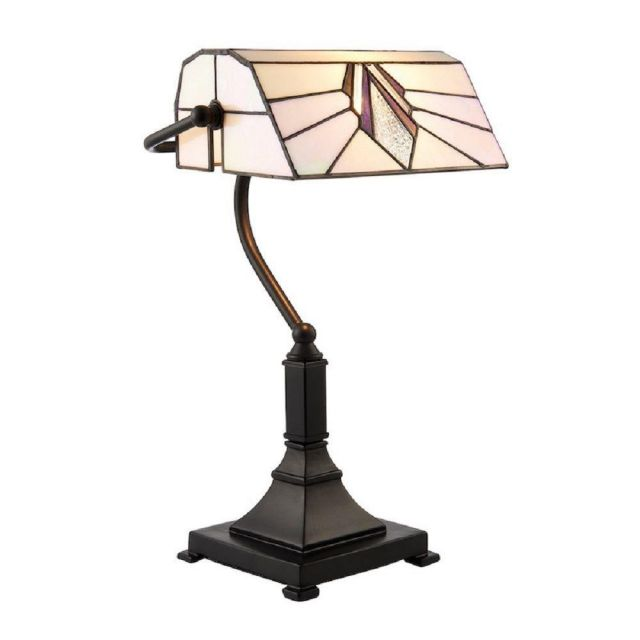 Interiors 1900 70909 Astoria Tiffany 1 Light Bankers Table Lamp With Shade