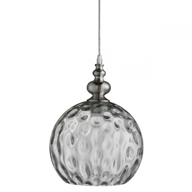 Searchlight 2020CL  Indiana 1 Light Ball Ceiling Pendant Light In Satin Silver With Clear Glass