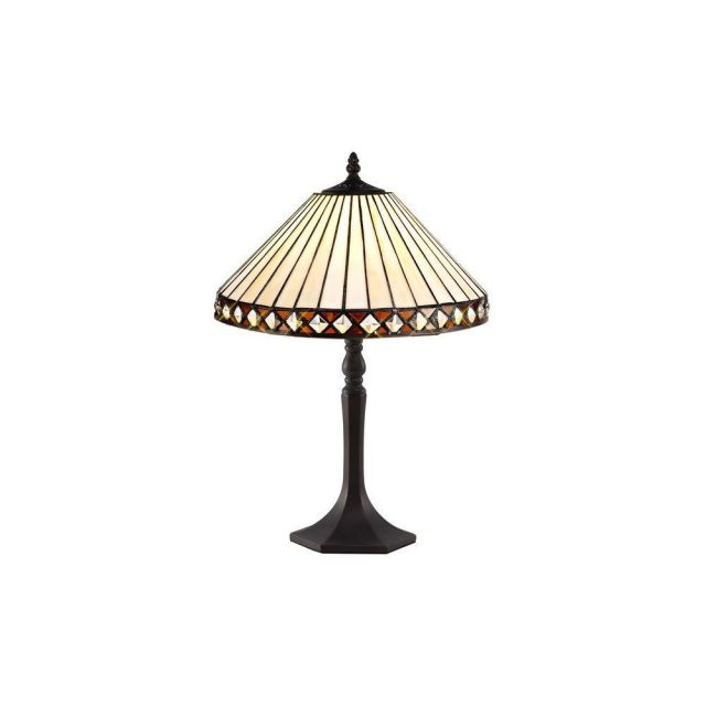 Cognac 1 Light Octagonal Table Lamp With 300mm Amber, Cream And Black Shade
