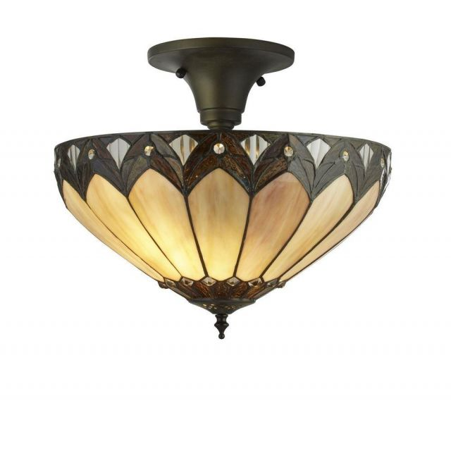 Searchlight 6701-40 Pearl Semi Flush Ceiling Light In Antique Brass With Tiffany Glass