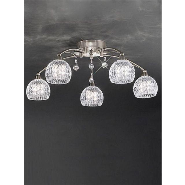 F2295/5 5 Light Nickel, Crystal Semi Flush Ceiling Light