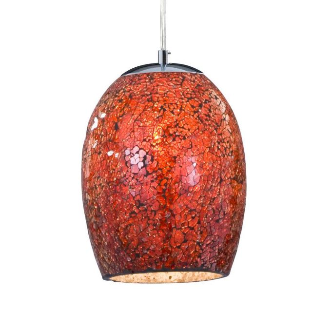 Searchlight 8069RE Crackle Red Mosaic Glass Pendant