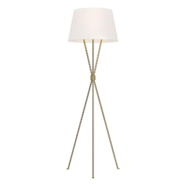FE-PENNY-FL-BB Penny 1 Light Floor Light In Burnished Brass With White Linen Shade