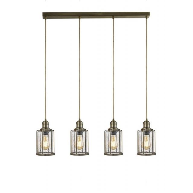 Searchlight 1164-4AB Pipes 4 Light Linear Pendant Light In Antique Brass