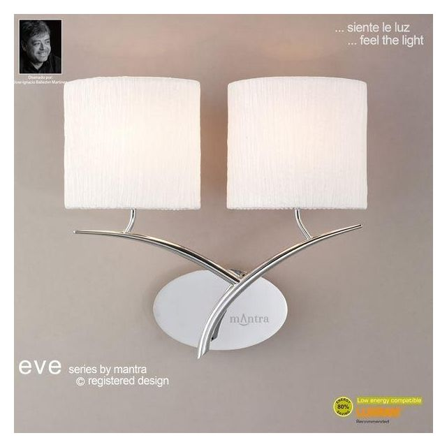 M1135 Eve 2 Light Chrome Wall Lamp With Ivory Shades