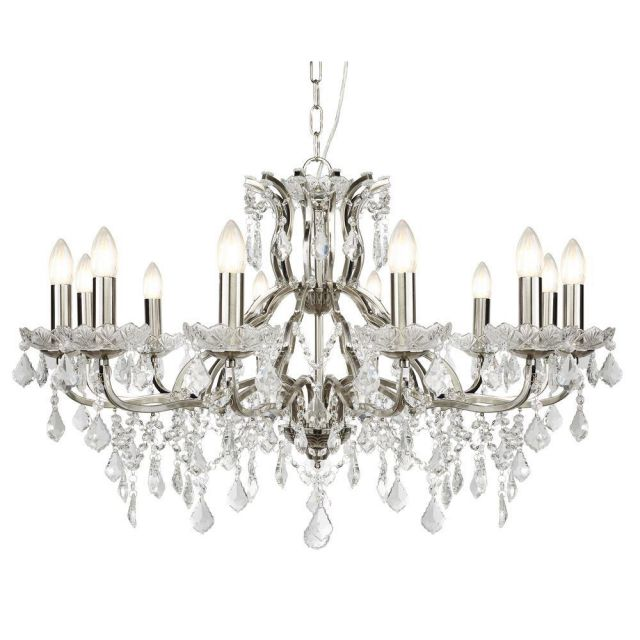 Searchlight 87312-12SS Paris Twelve Light Ceiling Chandelier In Satin Silver With Crystal Glass