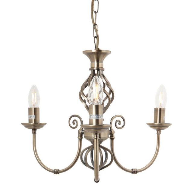 Barley 3 Light Classic Knot Twist Ceiling Light in Antique Brass