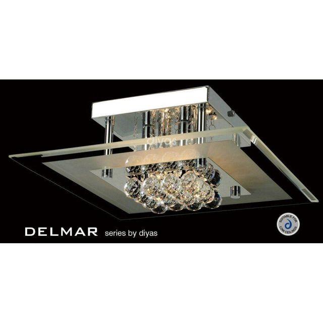 IL30023 Delmar 4 Light Square Polished Chrome Ceiling Light