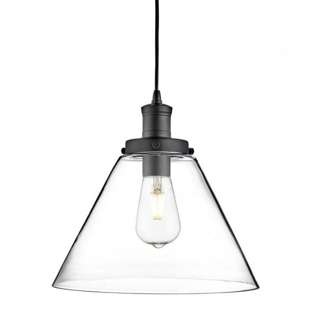 Searchlight 3228BK Pyramid 1 Light Ceiling Pendant Light In Black With Clear Glass