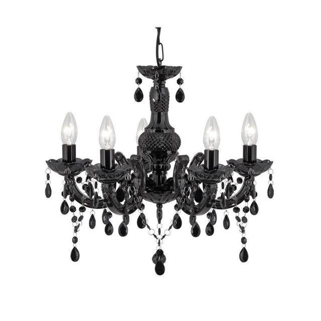 Searchlight 1455-5BK Black Marie Therese Chandelier