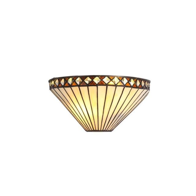 Cognac 2 Light Wall Light With Amber, Cream And Black Shade