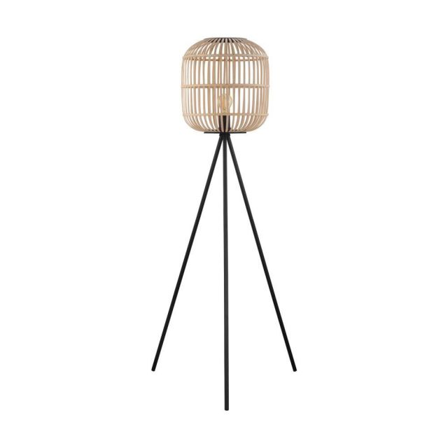 Eglo 43219 Bordesley 1 Light Tripod Style Floor Light In Natural Wood And Black