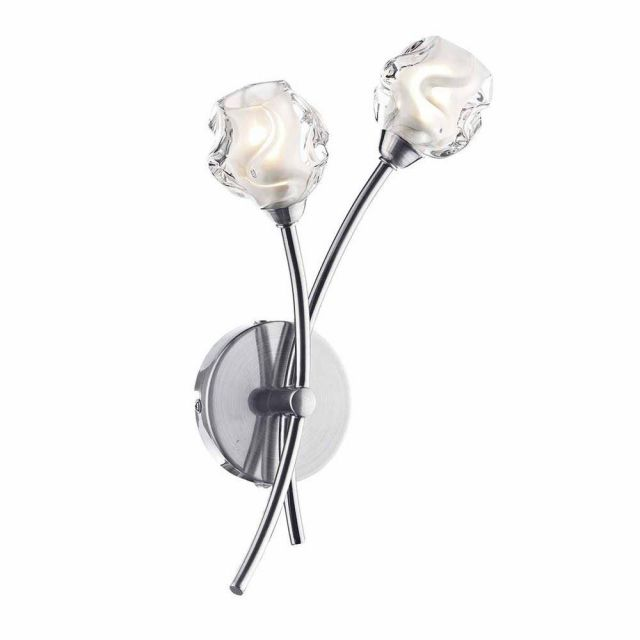 Dar SEA0946 Seattle 2 Light Wall Light In Satin Chrome With Glass Shade