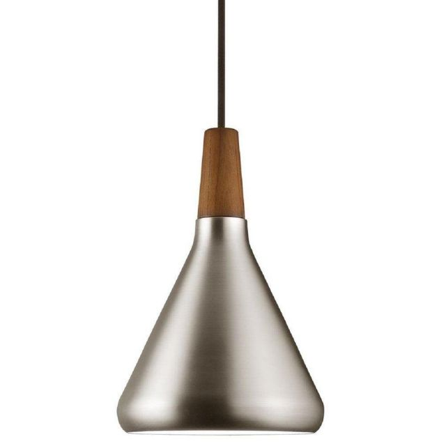 Nordlux 78203032 Float 18 1 Light Ceiling Pendant In Brushed Steel And Walnut Wood - Dia: 180mm