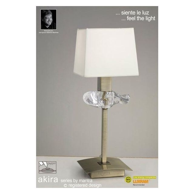 M0789AB Akira Antique Brass 1Lt Table Lamp With Cream Shade