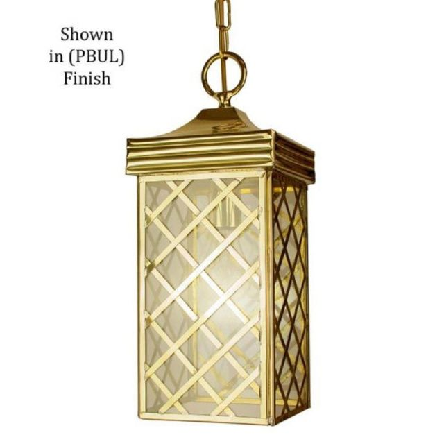 533PBUL Ivy Small Hanging Lantern In Unlaquered Polished Brass - H:460mm