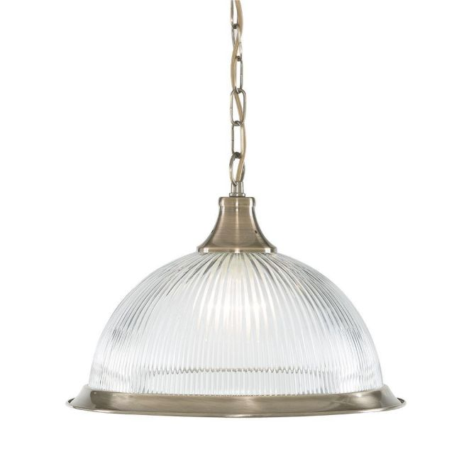 Searchlight 9369 American Diner 1 Light Ceiling Pendant Light In Antique Brass